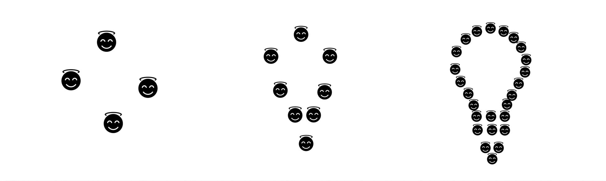 Image showing three groups of faces that form a light bulb