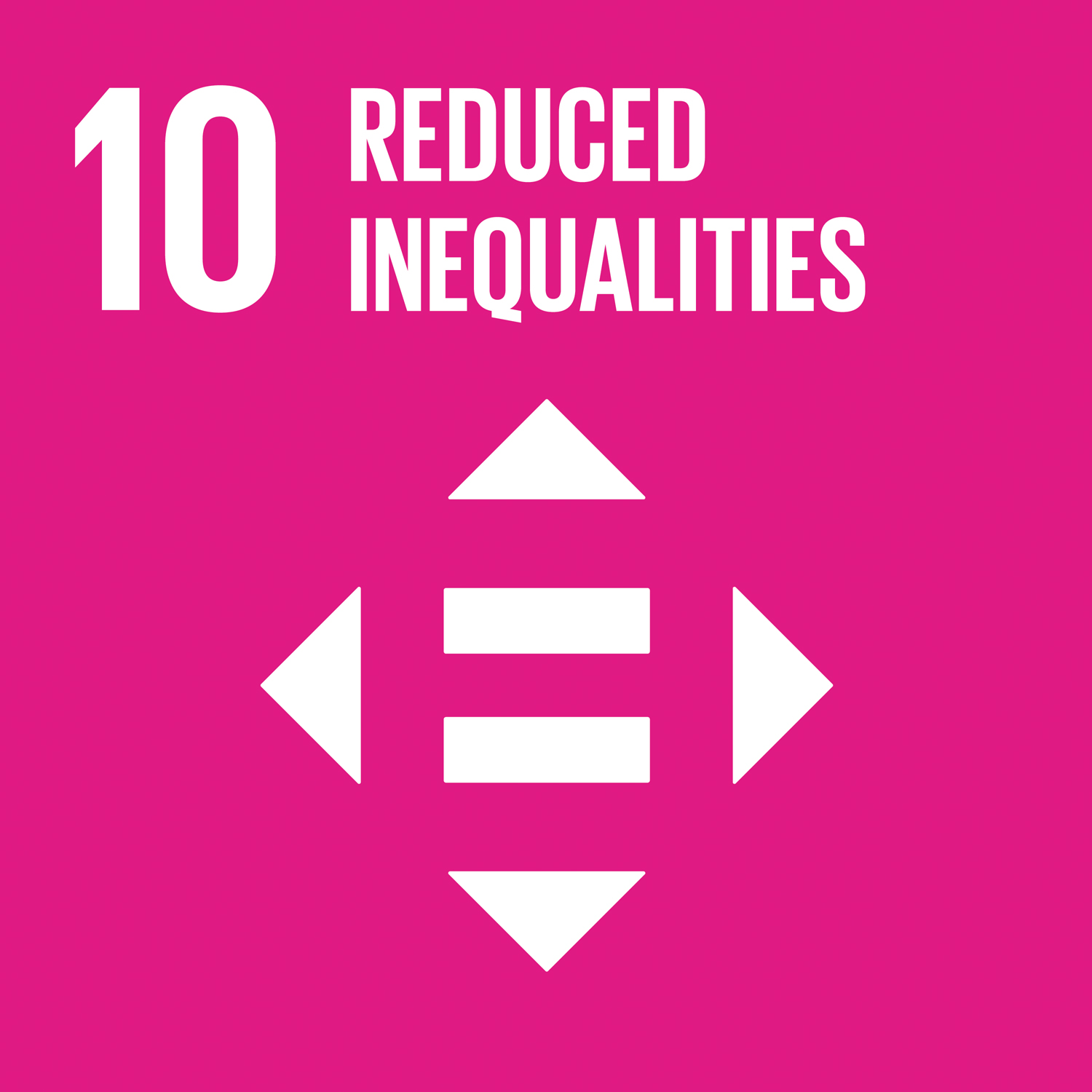 SDG Number 10 Reduced Inequalities Square Icon