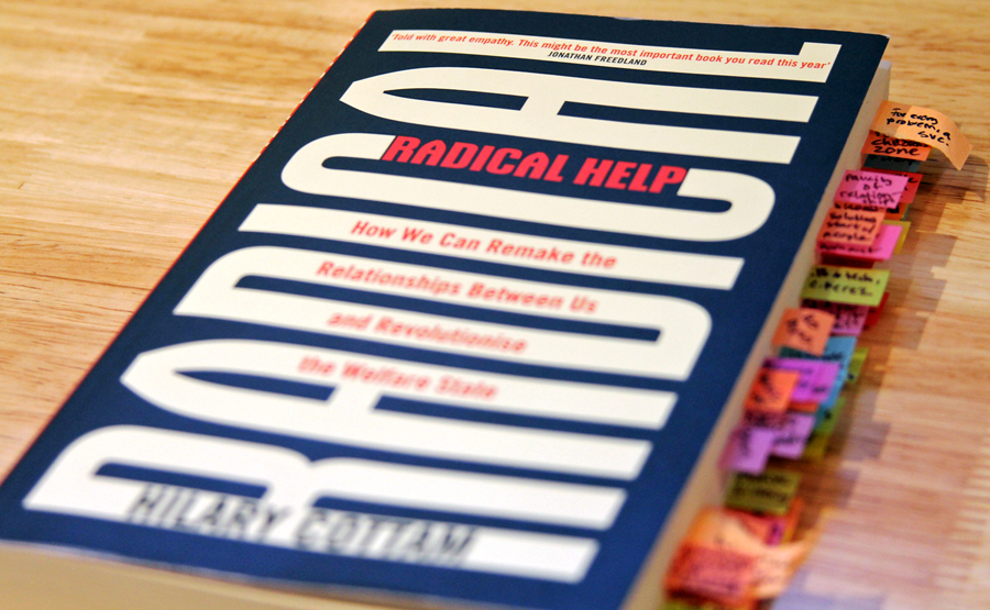 Photo of Radical Help book cover with flagged pages