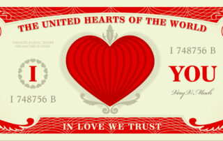 image of modified U.S. dollar with hearts