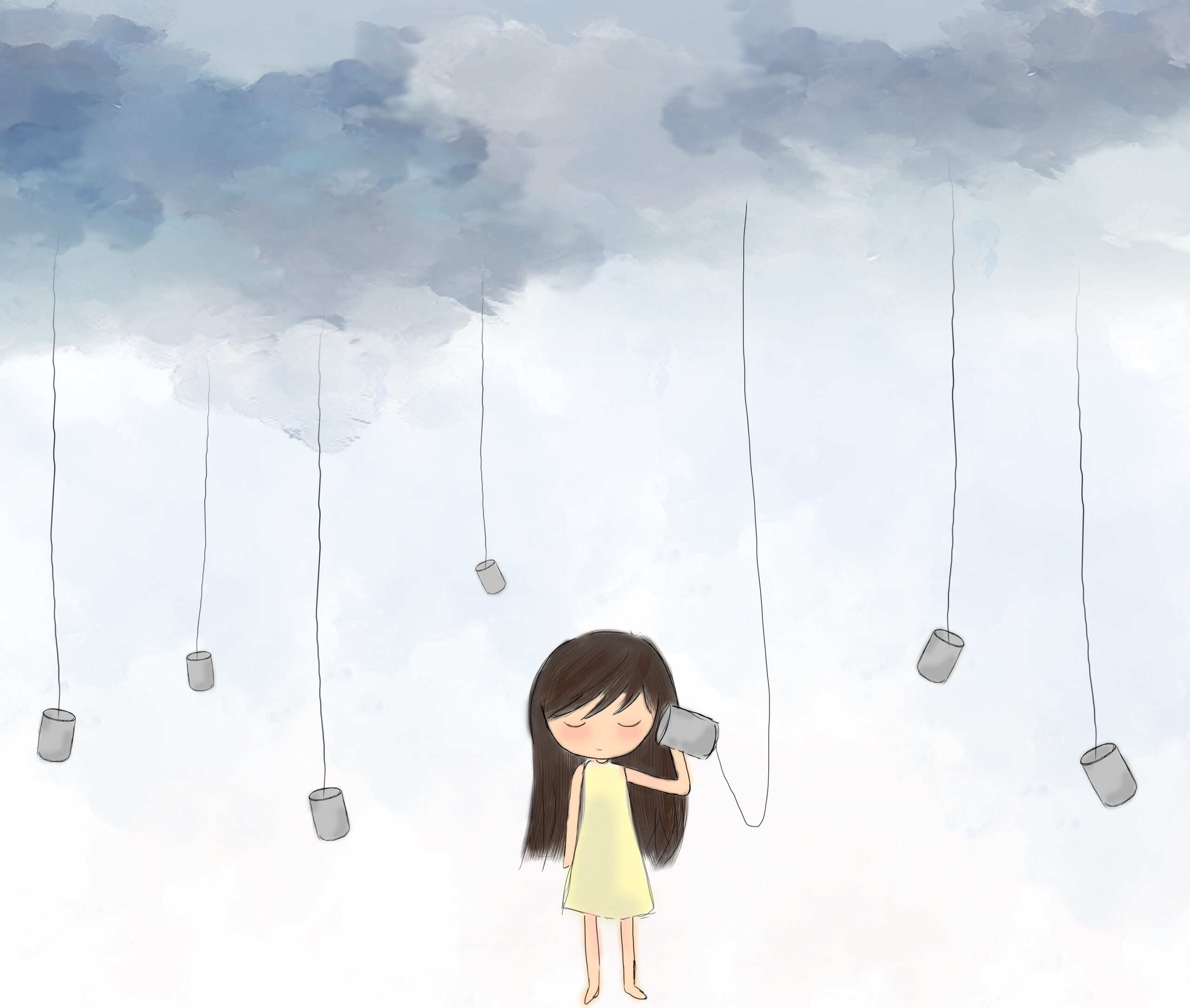 Girl with cans and grey clouds