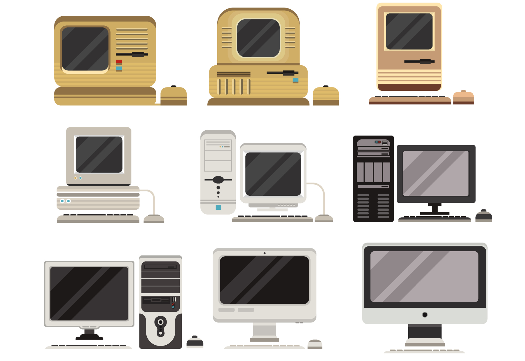 Illustrated computers over time